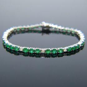 Colombian Emerald Diamonds Tennis Bracelet