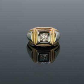 Vintage Diamond Yellow White Gold Signet Ring