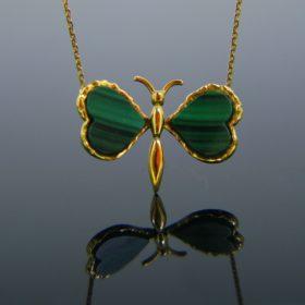 Malachite Butterfly Pendant Necklace