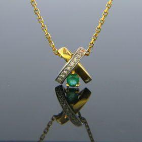 Emerald and Diamonds X shape Pendant