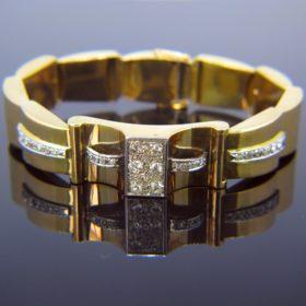 French Retro Diamonds Gold Platinum Bracelet