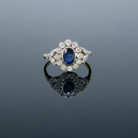 Belle Epoque Style Sapphire Cluster Ring