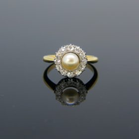 Edwardian Pearl Old Cut Diamonds Cluster Ring