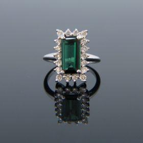 Vintage Tourmaline Diamonds Cluster Ring