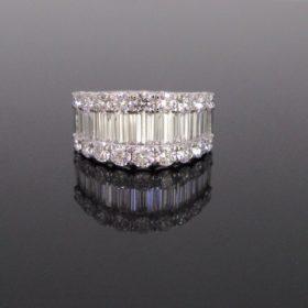 3ct Pave Baguette Brilliant Diamonds Ring