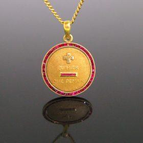Vintage Augis Love Token Medal Pendant