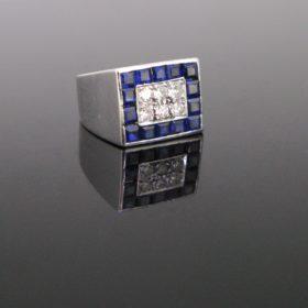 Signet Pave Sapphires Diamonds Ring