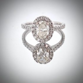 1.01ct Oval Cut Diamond Cluster Ring