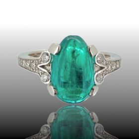 3.37ct Colombian Emerald Diamonds Ring