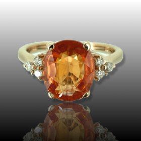 5.12ct Orange Sapphire Diamonds Ring