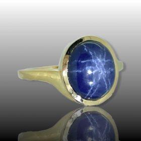 7.42ct Star Sapphire Yellow Gold Ring