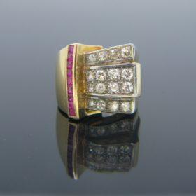 Retro Diamonds & Ruby Tank Ring