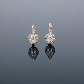 French Antique Diamonds Dormeuses Earrings