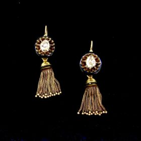Antique Diamonds Onyx Tassels Earrings