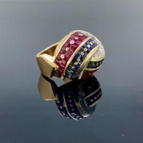 Bombe Diamonds Ruby Sapphire Knot Ring