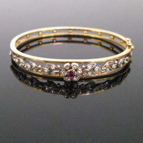 Victorian Ruby and Rose Cut Diamonds Bangle