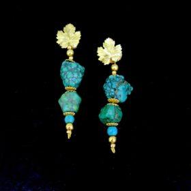 Antique Turquoises Vine Leaves Earrings