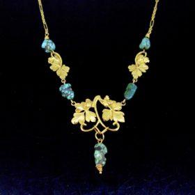 Antique Art Nouveau Turquoises Necklace