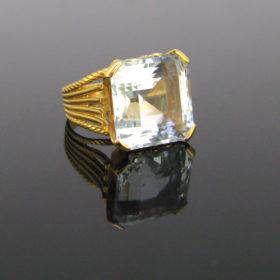 Retro 14ct Aquamarine Diamonds Ring