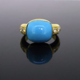 Natural Turquoise and Diamonds Ring