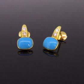Natural Turquoise Diamonds Studs Earrings