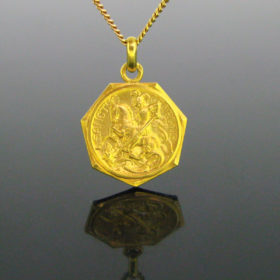 Antique French St Georges Medal Pendant
