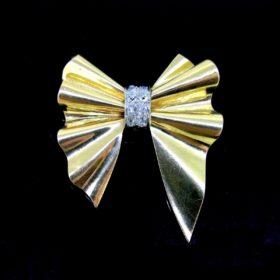 Retro Diamond Bow Ribbon Brooch