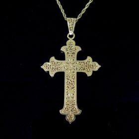 Antique French Art Nouveau Cross Pendant
