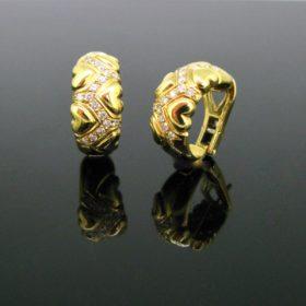 Vintage Diamonds Heart Hoop Earrings