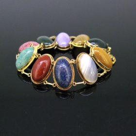 Antique Art Nouveau Hardstones Bracelet