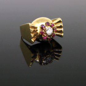 Retro Tank Diamond and Ruby Ring