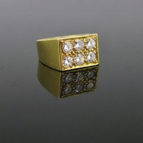 Vintage Signet Pave Diamonds Ring